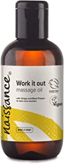 Naissance 'Work it Out' Aches & Pains Massage Oil 100ml - 100% Natural Blend of Grapeseed Oil with Ginger, Black Pepper, R...