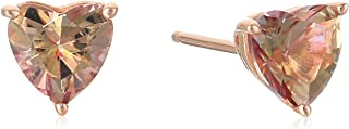 Rose-Gold-Plated Sterling Silver Heart-Shape Misty Rose Swarovski Topaz Gemstone Stud Earrings