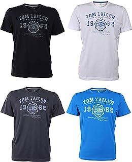 Tom Tailor Men's Crew Neck T-Shirt Logo Tee Basic - Pack of 4