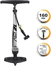 BV Bicycle Ergonomic Floor Pump with Gauge & Clever Air Valve, 160 psi, Reversible Presta and Schrader