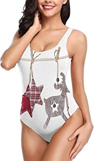 Women One Piece Swimsuit Swimwear,Traditional Xmas Celebration Items Hanging from Rope with Clothespins Retro