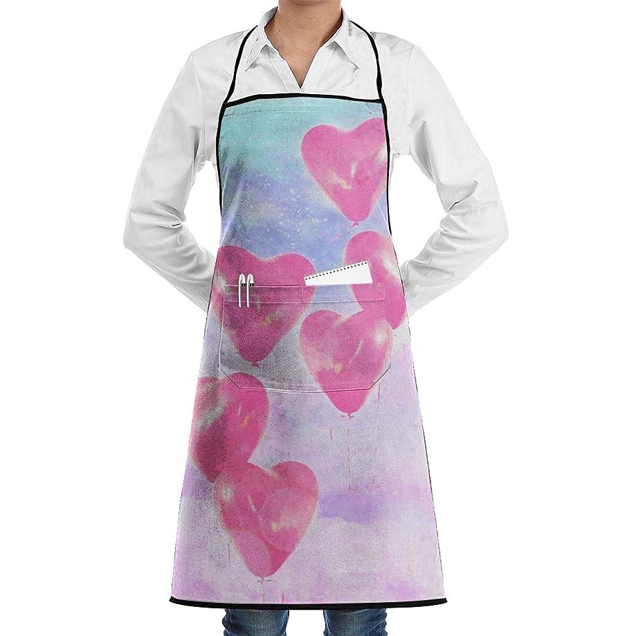 Kitchen Chef Bib Apron Heart Balloon Neck Waist Tie Center Kangaroo Pocket Waterproof
