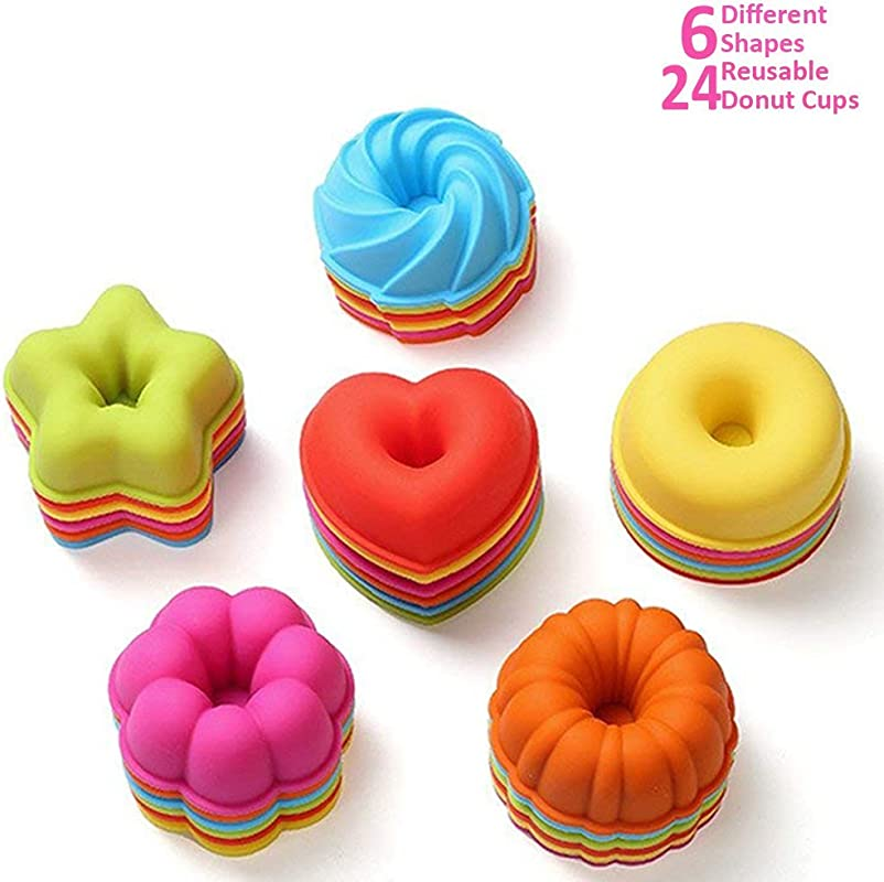 ULEE 24 Pcs Reusable Silicone Donut Tray Nonstick BPA Free Donut Baking Cups 6 Shapes With 4 Brilliant Colors Available For Dishwasher Oven Microwave Freezer