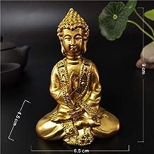 Statue Figurine Animal Statue Ornaments Golden Meditation Buddha Statue Sculpture Resin Crafts Feng Shui Ornaments for Hom...