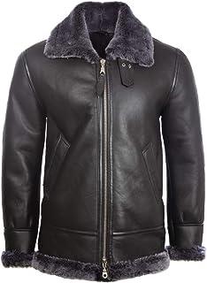 Aviatrix Men's Real Leather Shearling Classic Aviator Pilot Jacket (JEE2)