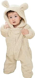 Sweet Mommy ベビー くまさん 着ぐるみ カバーオール 防寒 フード付き マシュマロボア オーガニックコットン裏地 ベージュ 80