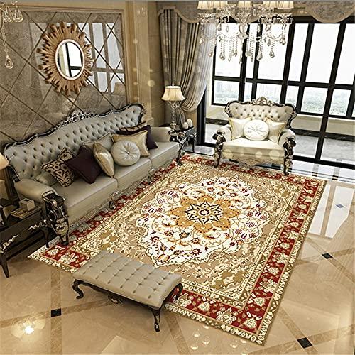 La Alfombra Adornos Salon Alfombra China de la Sala de Estar del Estampado Floral del Doodle Retro Rojo Amarillo alfombras Juveniles 100*120cm