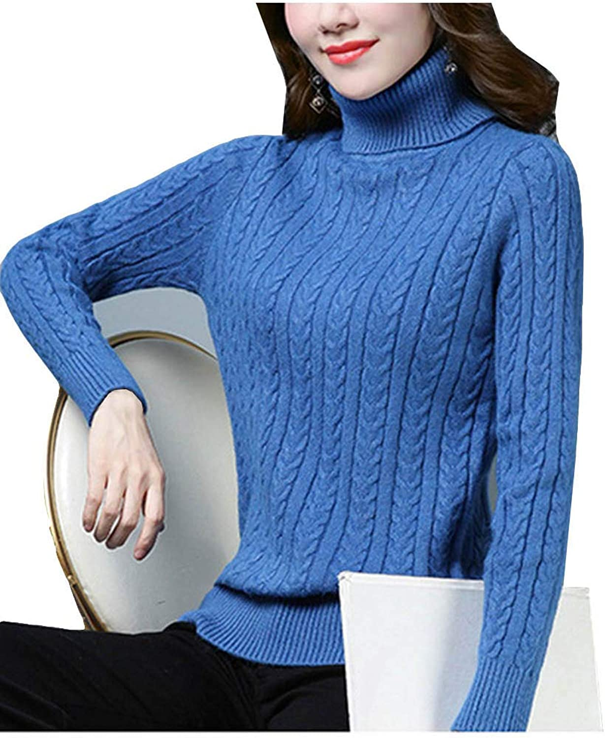 MFrannie Womens Twisted Ribbed Basic Thick Stretchy Fit Turtleneck Sweater