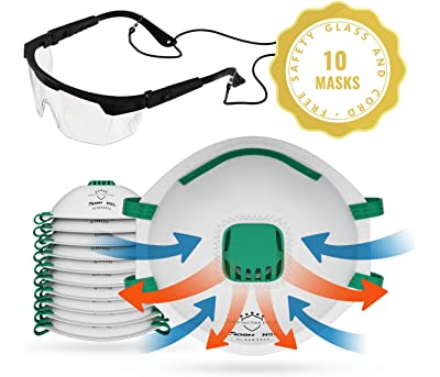 N95 Mask Plus Safety Glasses ANSI Z87.1 Particulate Dust Mask Safety Respirator With Exhalation Valve For Woodworking, Smoke, Construction, Painting, Sanding & Mold 10 Pack NIOSH Approved