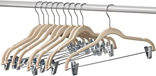 Home-it 50 Pack Clothes Hangers with Clips Ivory Velvet Hangers use for Skirt Hangers Clothes Hanger Pants Hangers Ultra Thin No Slip