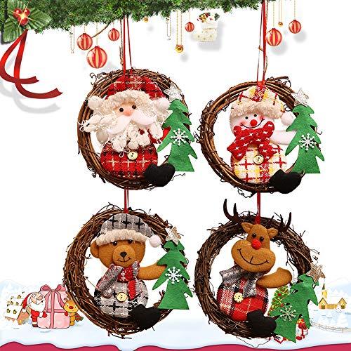 CHEPL Rattan Ring Anhänger 4 Stück Weihnachtskranz Tür hängen Rattan Weihnachtsbaum Dekoration Anhänger für Hauptküchen Wand Fenster Hall hängendes Dekor