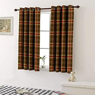 Window Curtain Drape tartan seamless pattern background red blue brown gold and white plaid tartan flannel shirt Decorative Curtains For Living Room (1 Pair, 27.5