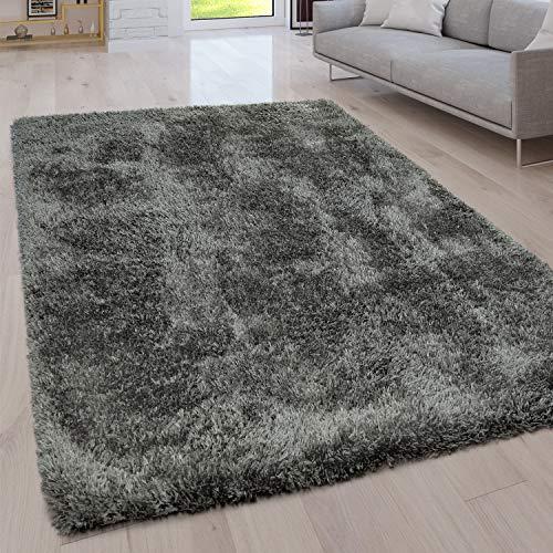 Paco Home Hochflor Wohnzimmer Teppich Waschbar Shaggy Uni In Versch. Größen u. Farben, Grösse:80x150 cm, Farbe:Grau