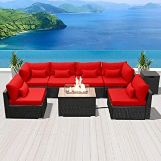 Modenzi Outdoor Sectional Patio Furniture with Propane Fire Pit Table Espresso Brown Wicker Resin Garden Conversation Sofa Set (G7 Sofa Rectangular Fire Pit, Red)
