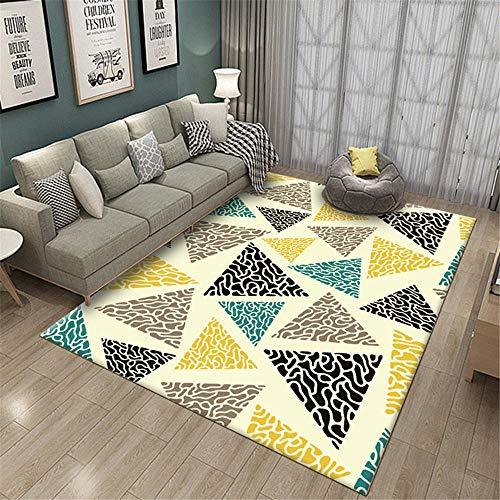 RUGMYW La Seguridad Alfombra Comedor Patrón de triángulo geométrico Beige Amarillo Gris Negro Azul alfombras Infantiles Baratas 120X160cm