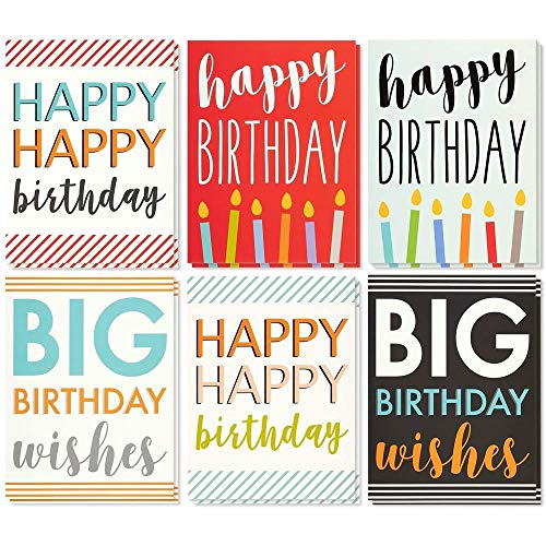 Large Birthday Cards Box Set � 12 Pack Jumbo Happy Birthday Cards, 6 Assorted Designs, Birthday Cards Bulk, Envelopes Included, 8.5 x 11 Inches