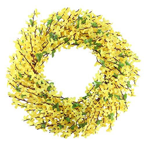NAHUAA Küstliche Blumen Kranz Jasmin Kranz Deko Wandkranz Türkranz mit Blumen für Hause Tür Wand Balkon Deko Party Hochzeit Gelb