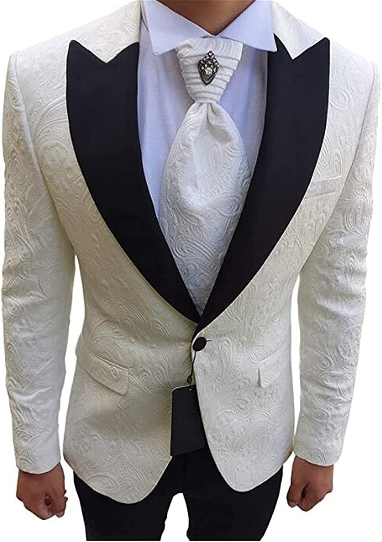 2Pcs Embroidered Men Suits(Jacket+Pants) Slim Fit Blazer Wedding Grooms Tuxedo