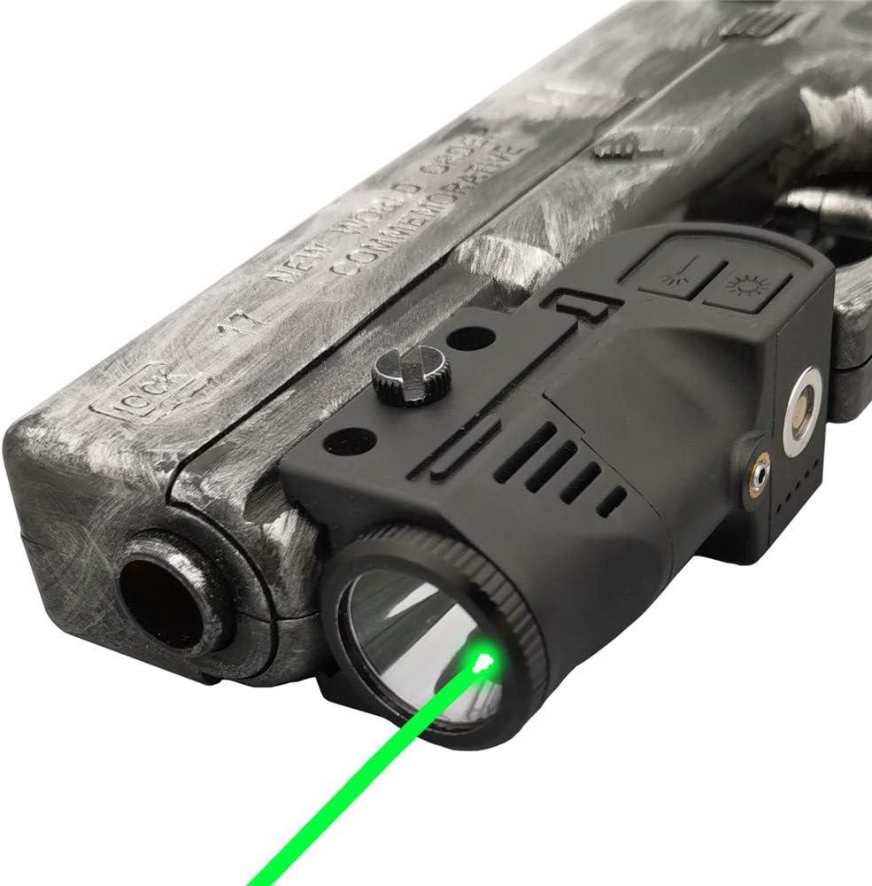 Laswin Tactical Flashlight with Internal Green Laser Sight for Pistol,2 in 1 Laser Light