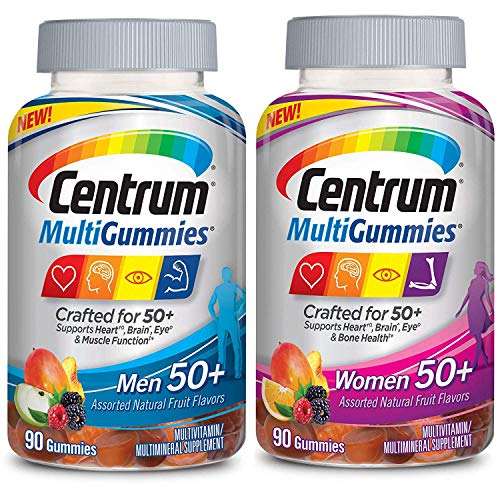 Centrum MultiGummies Men and Women 50+ Bundle Supports Heart, Brain and Eye Health Multivitamin/Multimineral Supplement in Assorted Natural Fruit Flavor (90 Gummies) Pack of 2