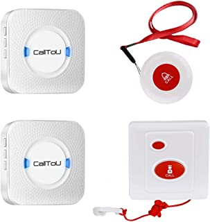 CallToU Caregiver Pager Wireless SOS Call Button Emergency Pager Nurse Alert Patient Help System for Elderly Seniors Disabled Home 1 Pendant Transmitters 1 Waterproof Mounted Button 2 Plugin Receiver