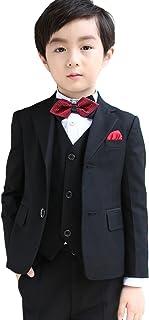 (AIMI)子供 男の子 フォーマル スーツ ブラック 7点セット 子供服 卒業式 入学式 結婚式 発表会 入園式 お宮参り NT009