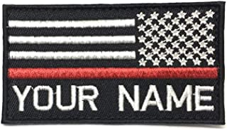 Personalized Custom Embroidered USA Flag with Thin Red Line Name Patch Hook Fastener Backing (Reverse)