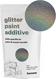 Hemway MICROFINE Glitter Paint Additive Emulsion Water Based Paints 100g (Gun Metal Grey Holographic)