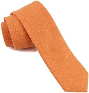 """Vinesen Men's Skinny Solid Color Tie Causal Cotton Linen Wedding Self Narrow Necktie 2"""""""