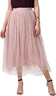 StyleStone Women's Pink Embellished and Embroidered Pleated Skirt (3542PleatPinkDot)