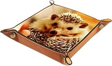 Cute Hedgehog Valet Tray Storage Organizer Box Coin Tray Key Tray Nightstand Desk Microfiber Leather Pouch,16x16cm