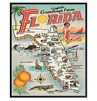Florida Wall Decor - Florida Tourism Tourist Map - 8x10 Sunshine State Travel Posters Postcard Wall Art Print - Vintage Florida Poster - Florida Gifts - Retro Home Decor for FL Beach House
