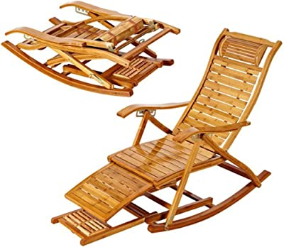 Amazon.com : Rocking Chairs MEIDUO Bamboo Adjustable ...