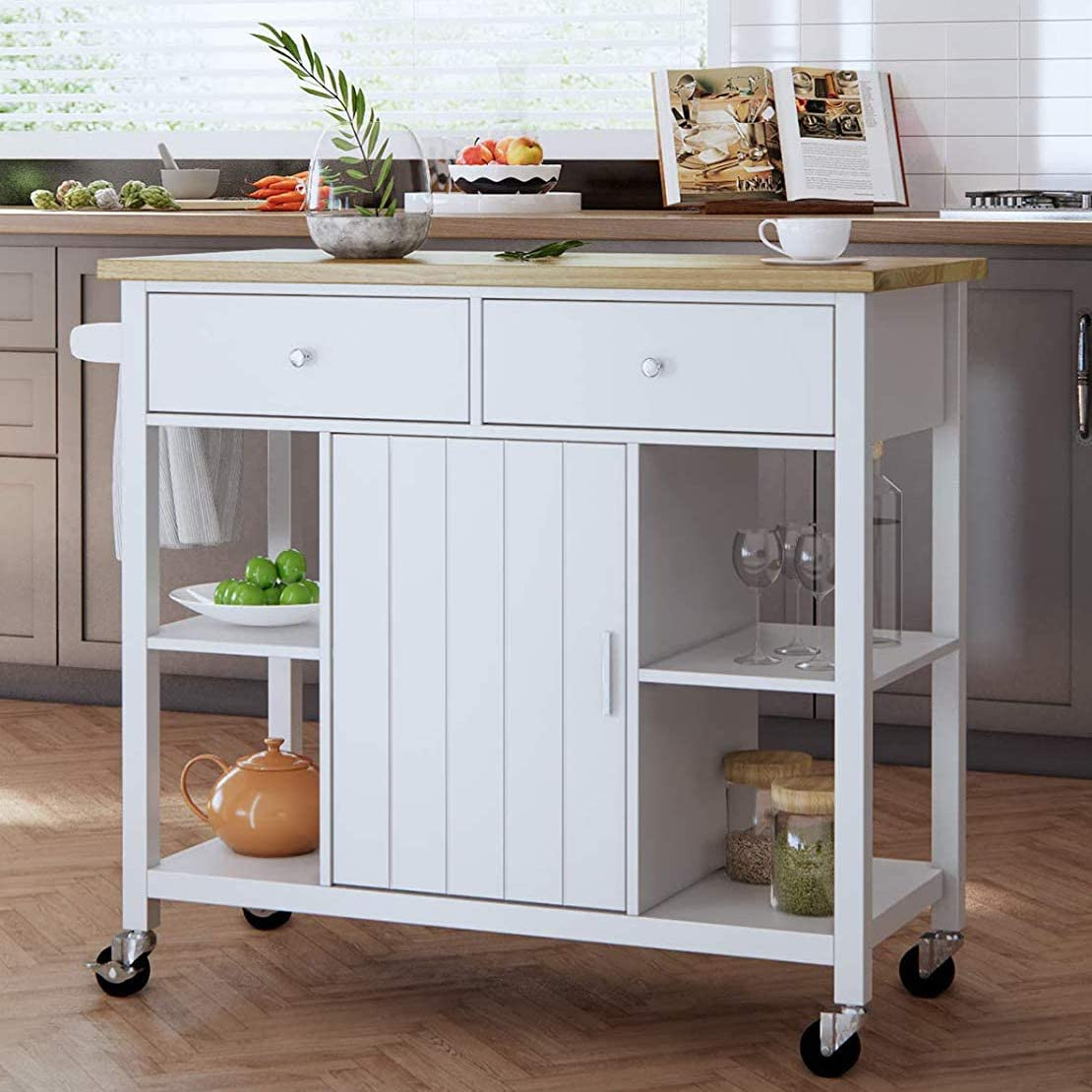 oneinmil Rolling Kitchen Island Cart on Wheels, with Wood Top, Storage and  Drawers, Small Portable 9 Inch, White