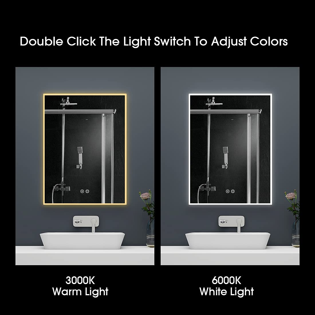 Buy Led Lighted Bathroom Mirror With Double Touch Anti Fog Bathroom Mirror With Adjustable Colors Warm Light White Light Wall Mirror With Dimmable Brightness Vertical Horizontal 31 5 X23 6 Online In Vietnam