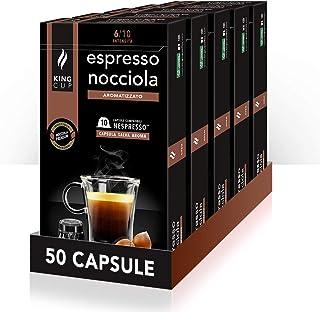 King Cup - 5 Paquet de 10 Capsules de Café Expresso aux Noisettes, 50 Capsules 100% Compatible avec le Système Nespresso d...