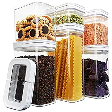 DuraHome - Airtight Food Storage Container Set, 6 Piece Set - Durable Containers Clear Acrylic with Handle Lid Design, Dry Goods Pantry Organization, BPA free FlipLock (Rectanlge)