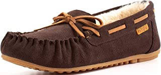 Women's Sheepskin Moccasins Cow Suede Memory Foam Slippers Indoor and Outdoor Winter Shoes