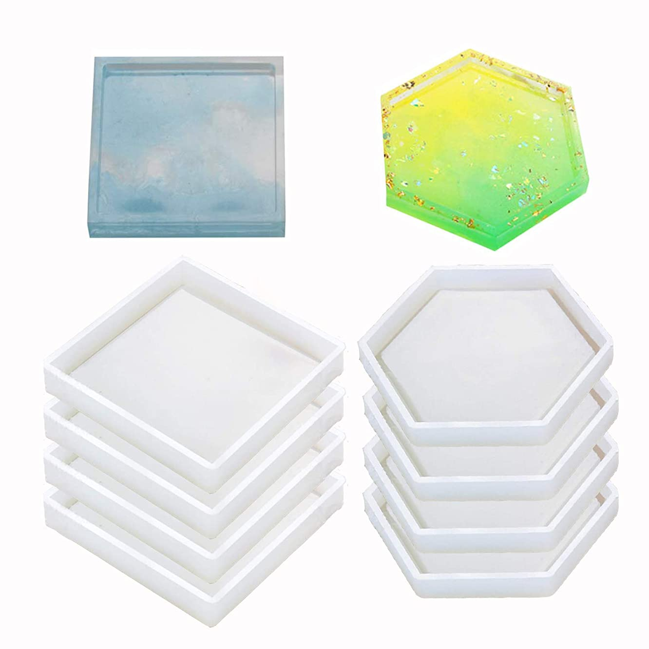8 Pack Silicone Coaster Molds Including Square, Hexagon - Silicone Resin Mold, Clear Epoxy Molds for Casting with Resin, Concrete, Cement and Polymer Clay