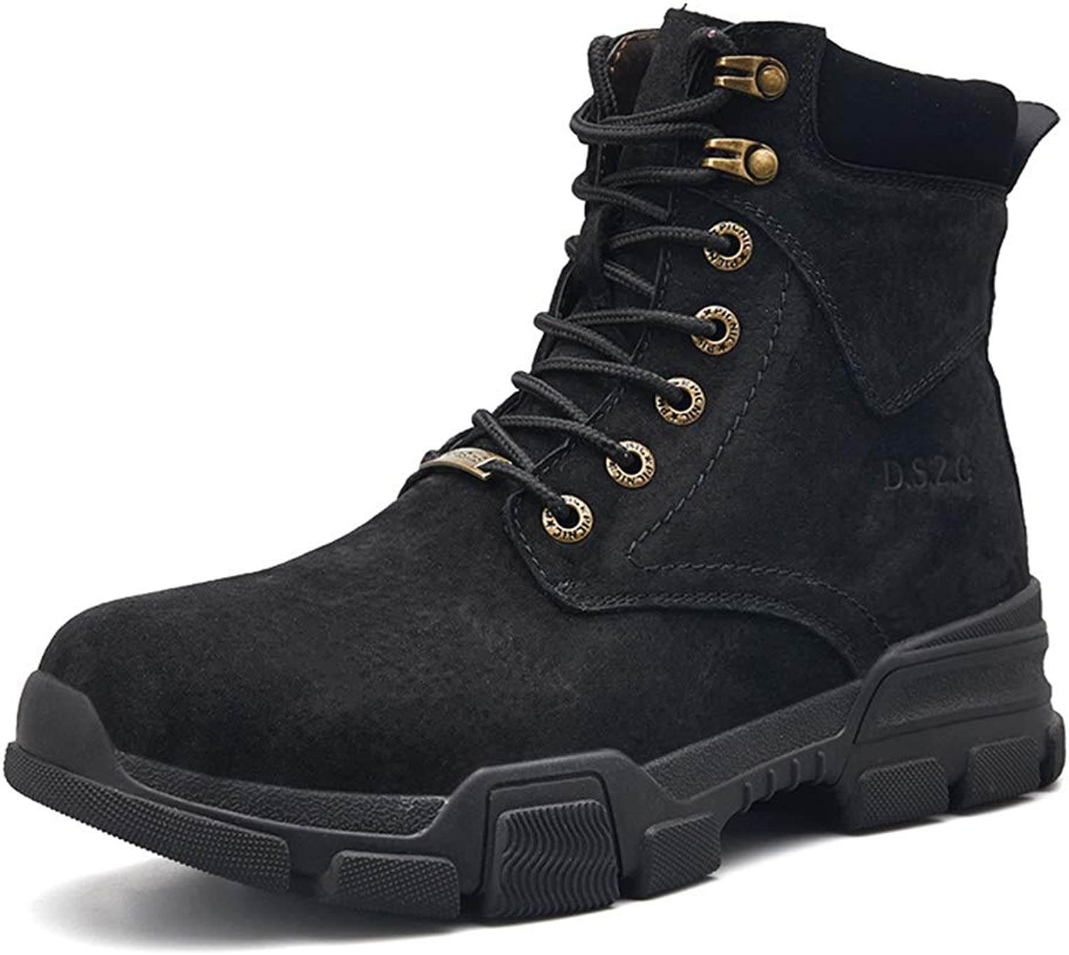 Men's shoes Men's Martin Boots, Fall Winter Trend British Short Boots Men's Retro Leather Boots Wild High-top Ankle Boots Men's Fashion Boots (color   B, Size   42)