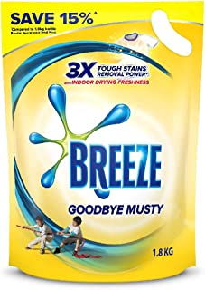 Breeze Liquid Detergent Refill, Goodbye Musty, 1.8kg