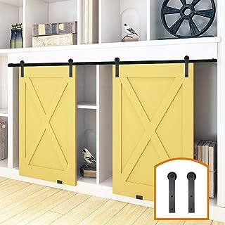 ZEKOO 2.5-8FT New Design Customized Style Interior Super Mini Sliding Barn Door Hardware Black Roller Rails Closet Cupboard Storage Cabinet Kit (4FT, Double Door Kit)