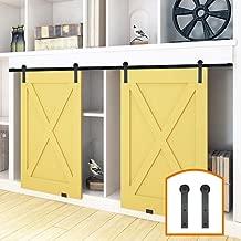 ZEKOO 2.5-8FT New Design Customized Style Interior Super Mini Sliding Barn Door Hardware Black Roller Rails Closet Cupboard Storage Cabinet Kit (6.6FT, Double Door Kit)