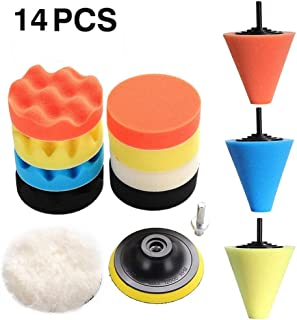 14 Pcs Polishing Kit, Foam Drill Polishing Buffing Pads Cone Sponge Set for Car Body Wheels, Metal Aluminum, Stainless Steel, Chrome, Jewelry, Plastic, Ceramic, Glass, etc (Multicolor)