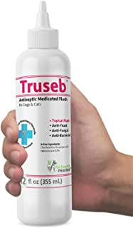 Truseb | #1 Antibacterial, Antiseptic, Antimicrobial and Antifungal Medicated FLUSH for Dogs, Cats and Horses with Chlorhexidine0.2%, Ketoconazole 0.2%.– Otic Advanced Veterinary Formula- 100% Satisfy