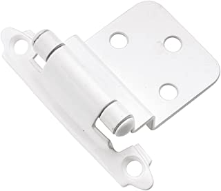 Hickory Hardware P143-W 3/8-Inch Offset Surface Self-Closing Hinge, White