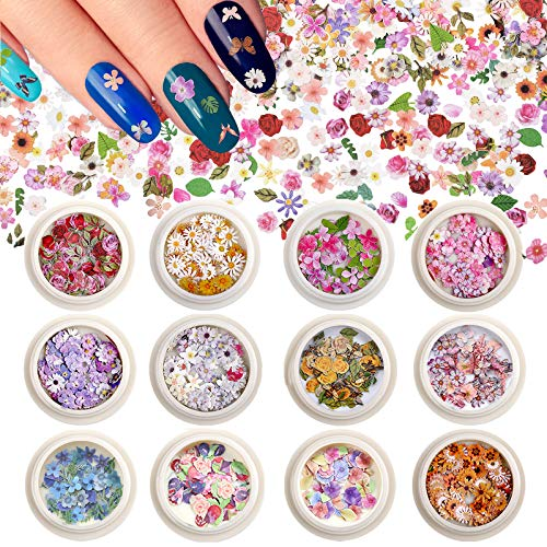 Kalolary 12 Boxes 3D Flower Nail Sequins Sticker, Holographic Simulation Flower Nail Art Stickers Romantic Rose Daisy Flowers Designs Ultra Thin Wood Pulp Flakes Sequins For DIY Nail Art Decoration
