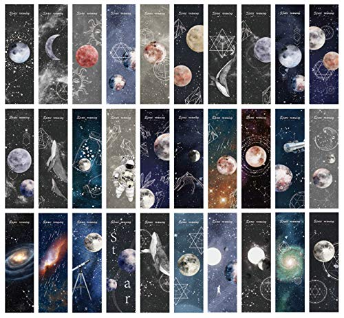 Cute Funny Planet Moon Space Theme Colorful Bookmarks, 30 PCS (Space)