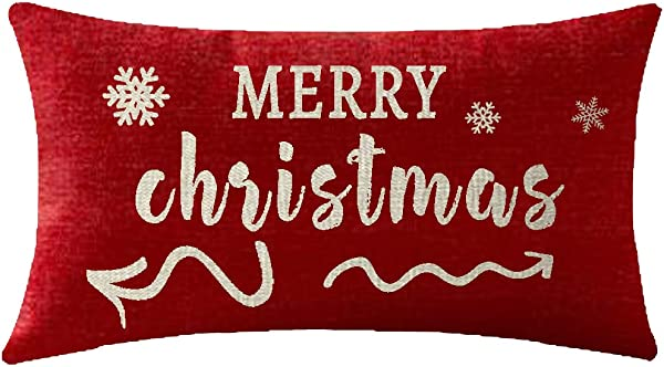 NIDITW Sister Birthday Merry Christmas Arrow With Beautiful Snowflakes Waist Lumbar Red Cotton Linen Throw Pillow Case Cushion Cover Sofa Chair Decorative Rectangular 12x20 Inches