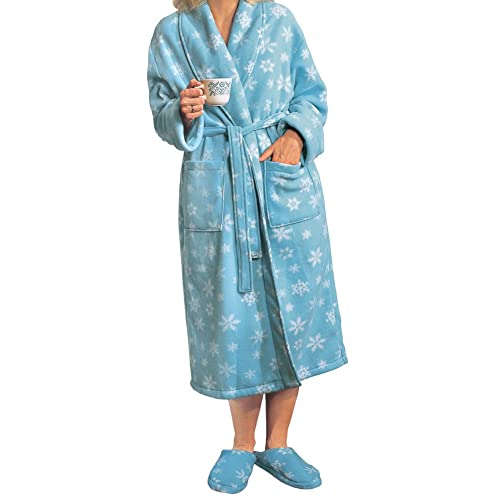 4118b687902f Women s Cozy Fleece Snowflake Holiday Bathrobe Set